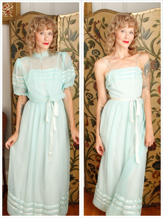 1960s Gown // Ocean Tide Gown & Jacket // vintage