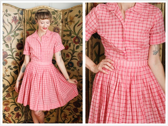 1950s Dress Set // Pink Plaid Cotton Shirt & Skir… - image 1