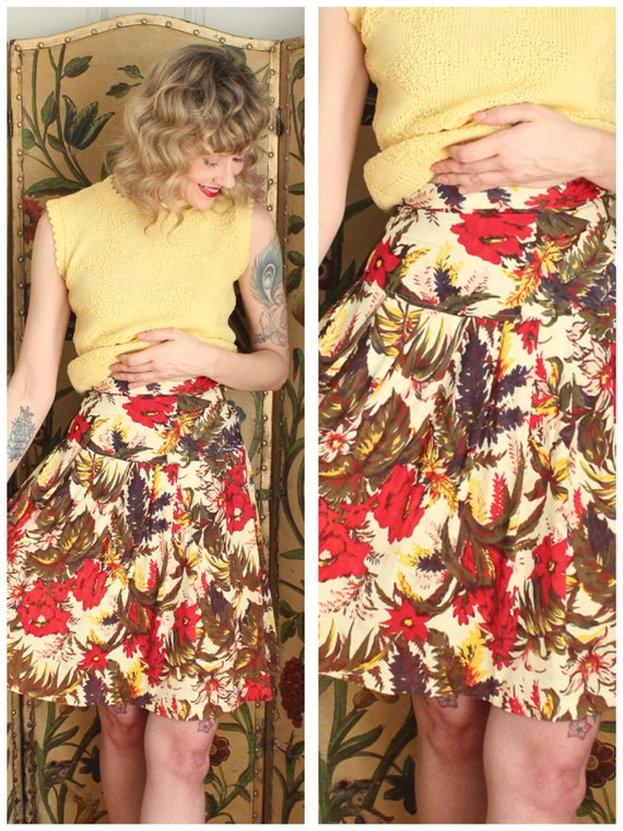 1930s Skirt // Floral Rayon Jersey Skirt // vintag