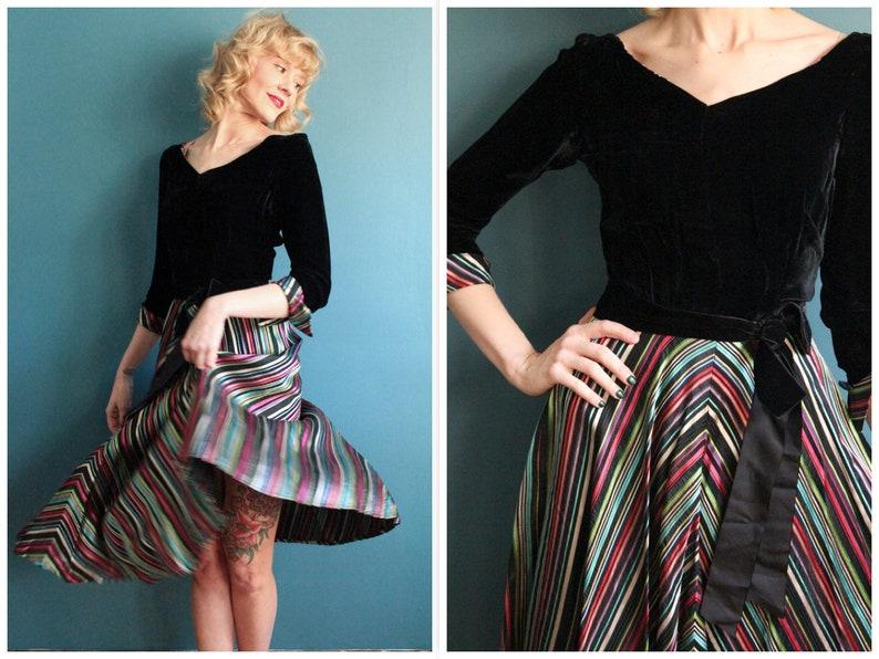 1940s Dress // Luxe Candy Stripe Dress // vintage 40s dress image 0