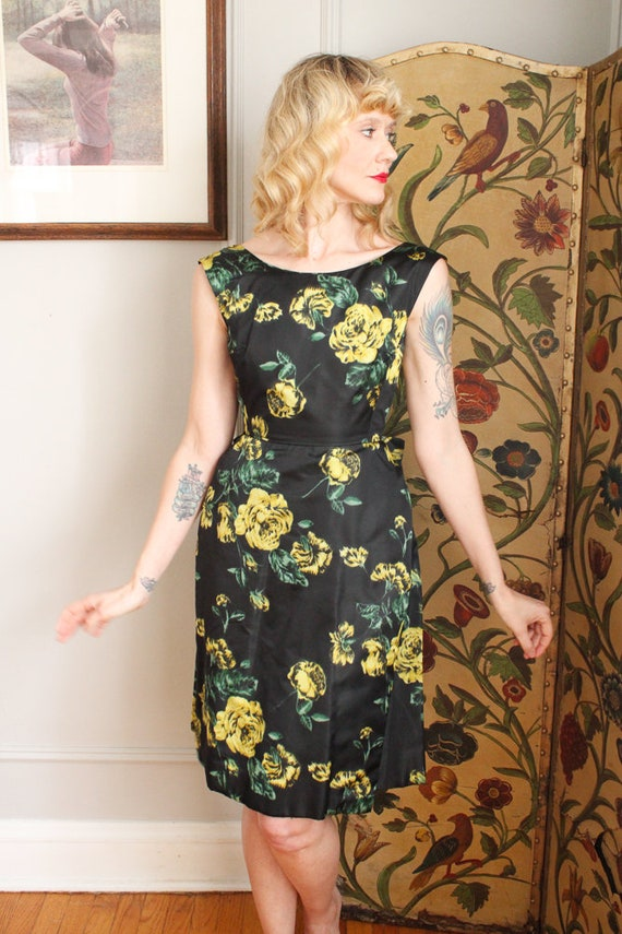 1960s Dress // Garden Party Silk Dress  // vintag… - image 7