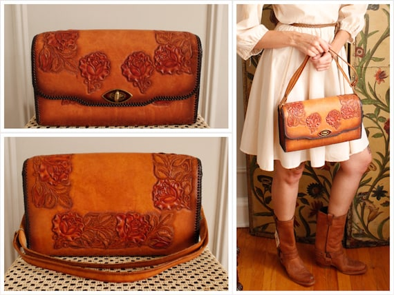 1950s Handbag // Rose Leather Tooled Handbag // vi