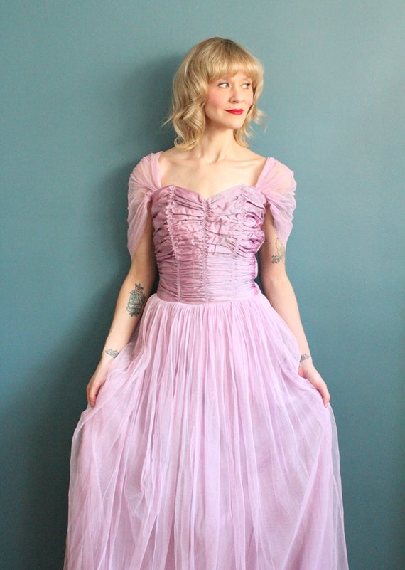 Late 1940s Gown // Debutante Tulle Gown // Vintag… - image 2
