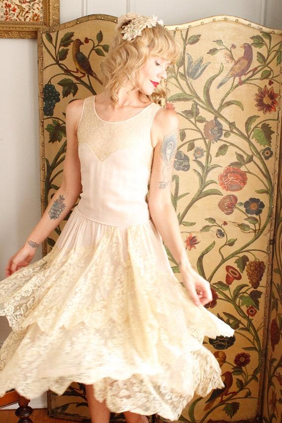 1920s Dress // Chiffon and Lace Wedding Dress // … - image 2