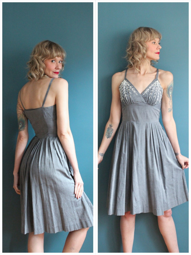 1950s Dress // Weeping Willow Cotton Dress // vintage 50s image 0