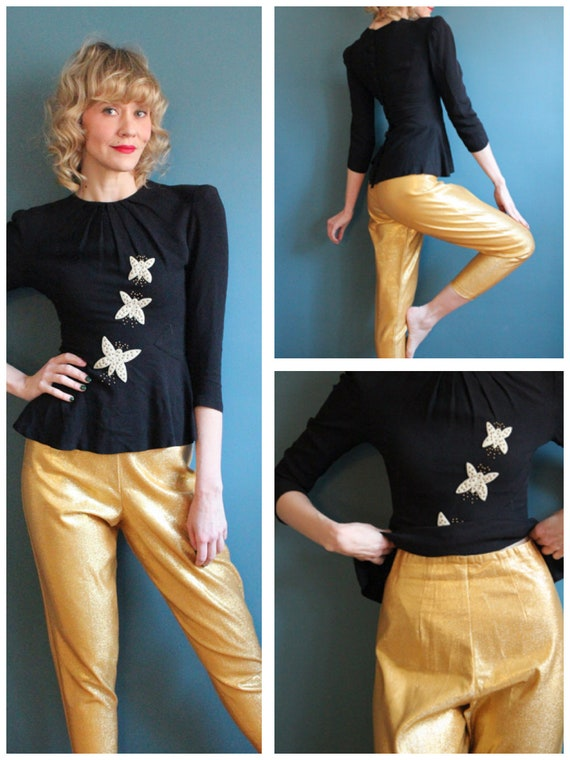 1960s Pants // Gold Lurex Cigarette Pants // vinta