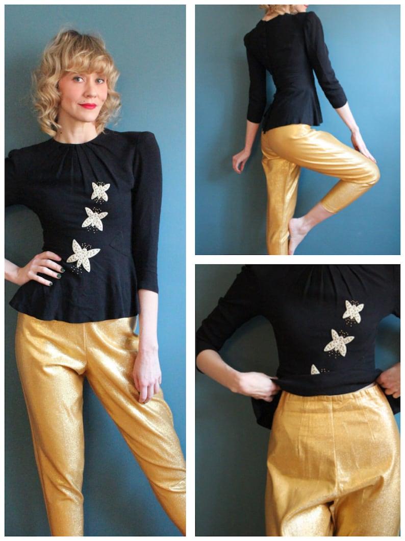 1960s Pants // Gold Lurex Cigarette Pants // vintage 60s pants image 0