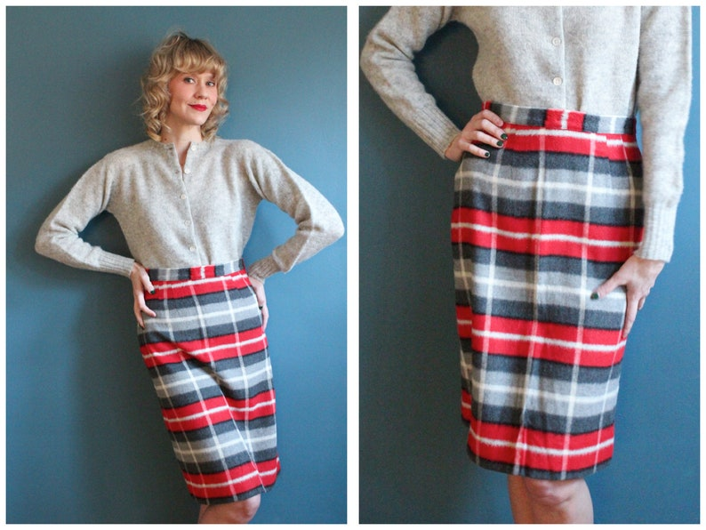 1950s Skirt // Shadow Plaid Pencil Skirt // vintage 50s skirt image 0