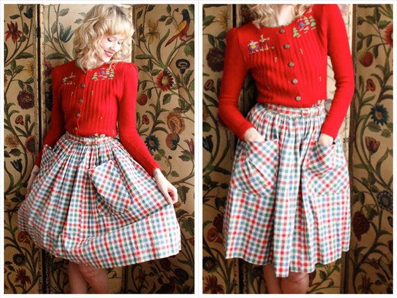 1940s Skirt // Colorful Bright Plaid Skirt // vint
