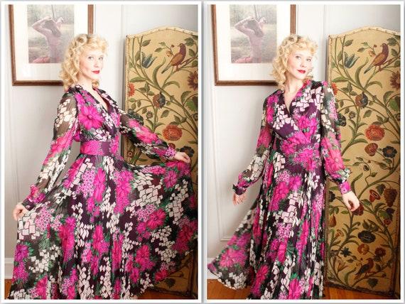 60s vintage clothing women 60s 70s hostess dress 1960s spring floral maxi dress medium