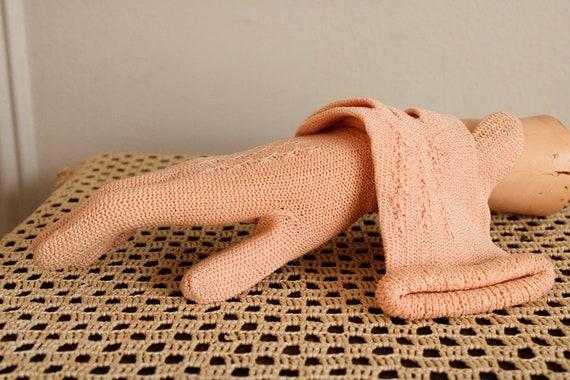1940s Gloves // Pink Cotton Knit Gloves // vintag… - image 5