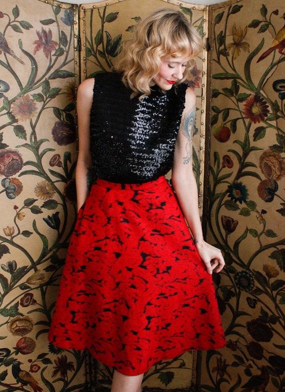 1990s Skirt // Rose Garden Wool Skirt // vintage … - image 5