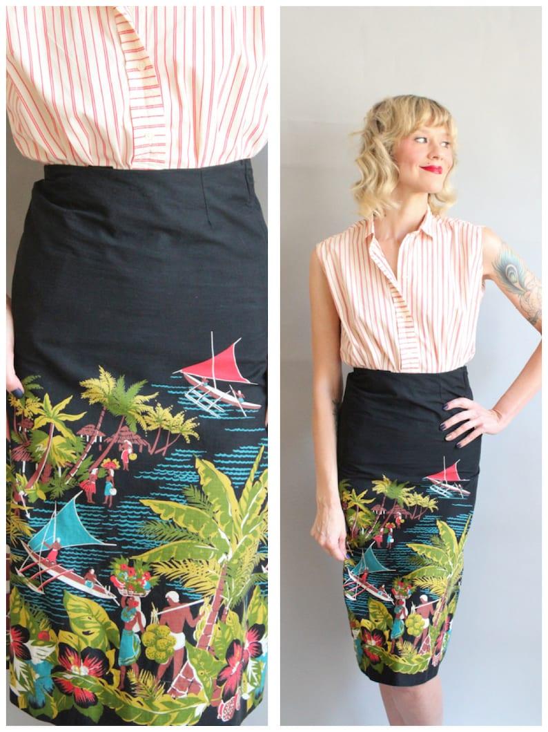 Early 50s Skirt // Hawaiian Border Print Hibiscus Skirt // image 0