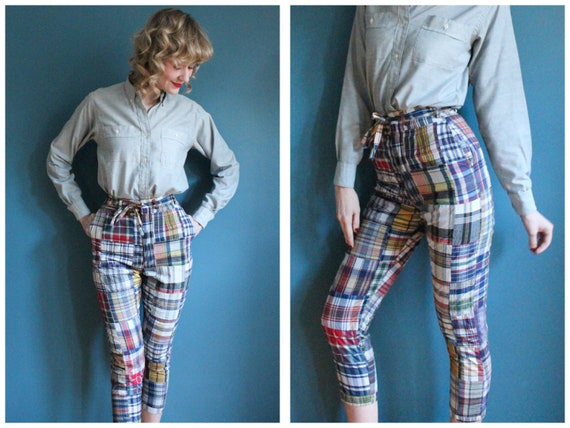 1960s Pants // Peck & Peck Madras Plaid Cigarette