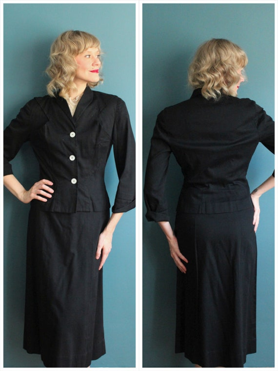1940s Suit // Eisenberg Cotton 2pc Suit // vintage