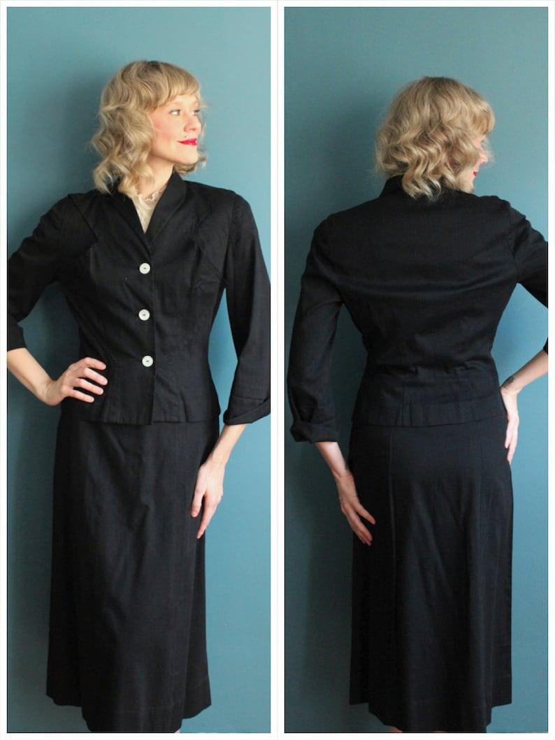 1940s Suit // Eisenberg Cotton 2pc Suit // vintage 40s suit image 0