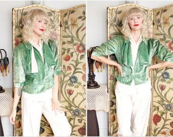 1930s Jacket // Jade Velvet Jacket // vintage 30s velvet jacket
