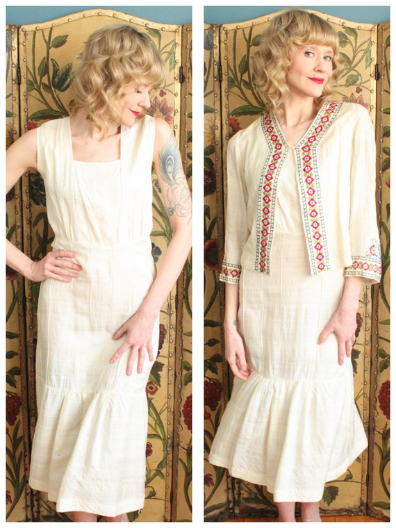 1930s Dress // Silk Embroidered Folk Dress & Jacke