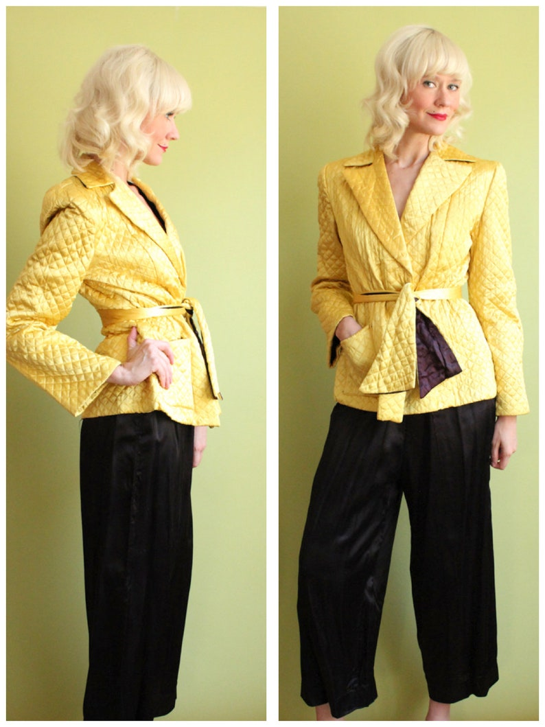 1940s Lounge Set    Rothley Chicago Gold Satin Jacket   Black  28c6a4cc0