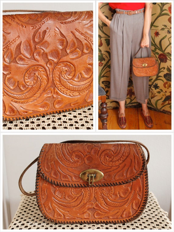 1950s Handbag // Leather Tooled Handbag // vintage