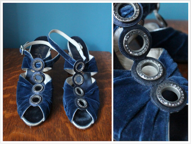 1930s Heels // Velvet and Marcasite Heels by O'Connor & image 0