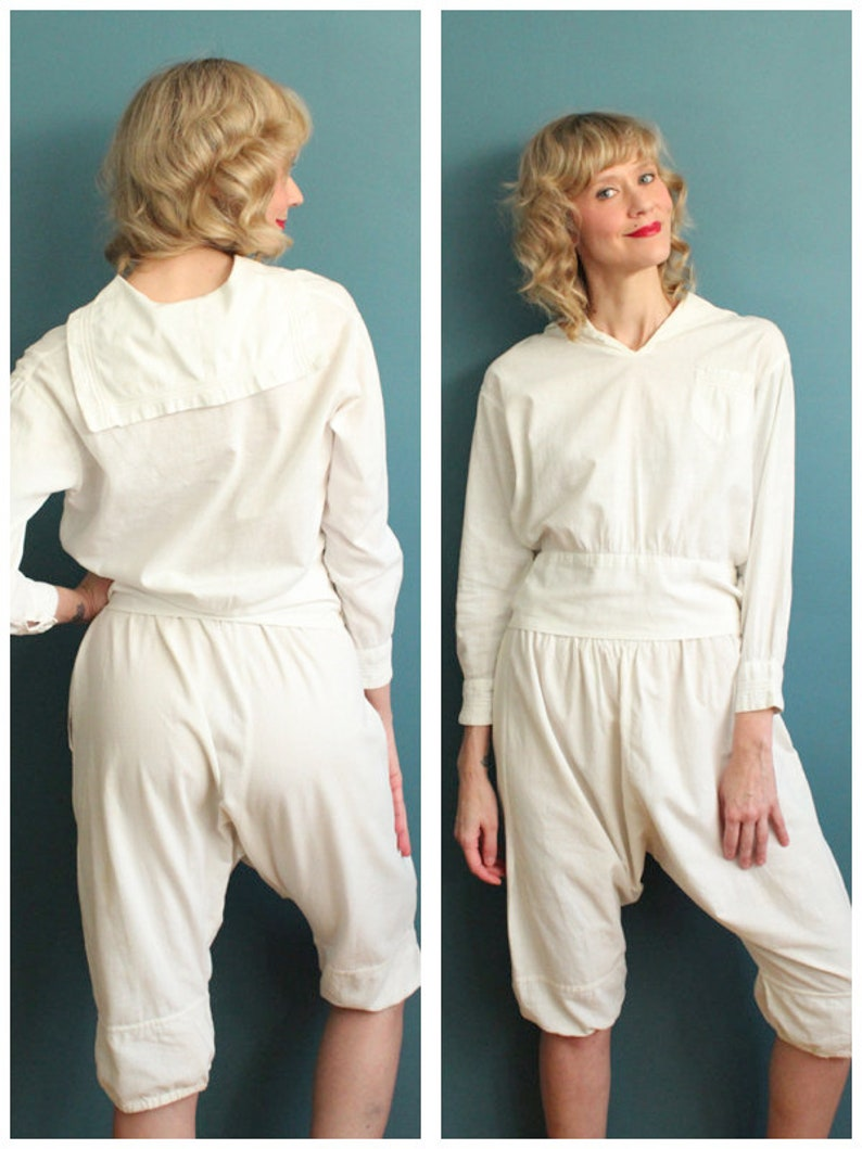1920s 2pc Suit // White Sailor Cotton Blouse & Crop Pant // image 0