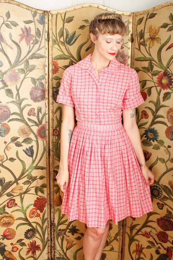 1950s Dress Set // Pink Plaid Cotton Shirt & Skir… - image 10
