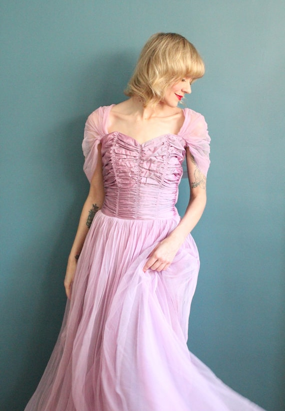 Late 1940s Gown // Debutante Tulle Gown // Vintag… - image 9