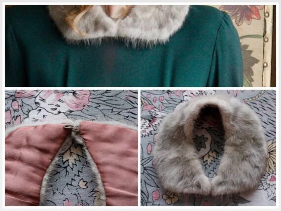 1940s Collar // Silver Mink Collar // vintage 40s