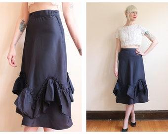 1950s Skirt // Dark Ruffle Taffeta Skirt // vintage 50s skirt
