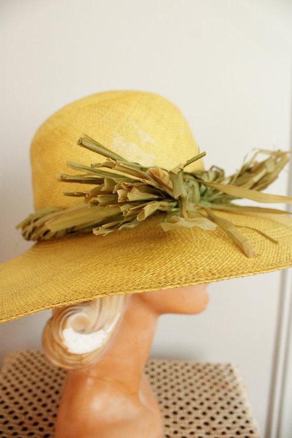 1970s Hat // IMagnin Straw Chartreuse Summer Hat … - image 10