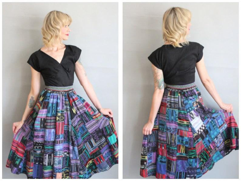 1980s Skirt // Guatemalan Patchwork Full Skirt // vintage 80s image 0