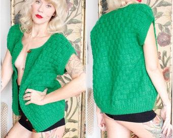 1960s Sweater // Kelly Green Knit Oversized Wool Sweater Vest // vintage 60s sweater