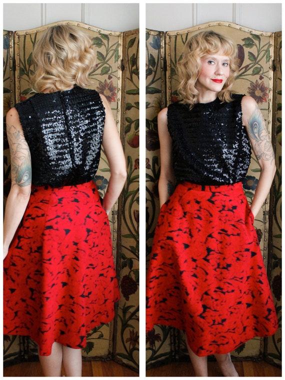 1990s Skirt // Rose Garden Wool Skirt // vintage … - image 1