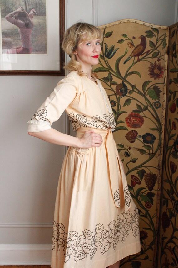 1910s Dress // Edwardian Embroidered Leaf Dress /… - image 7