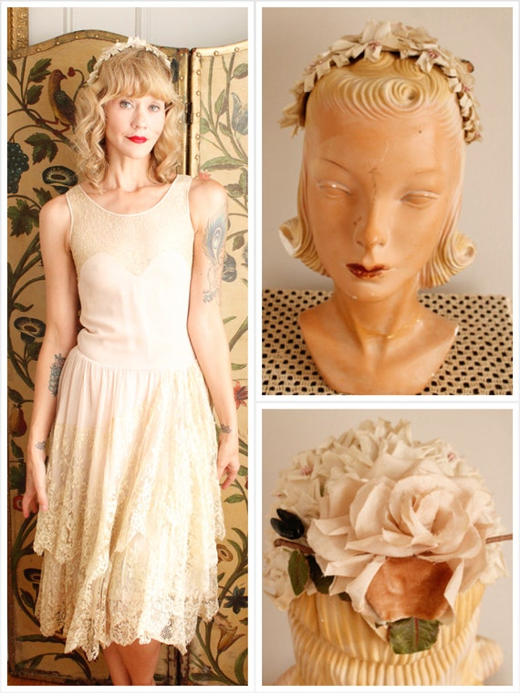 1940s Fascinator // Rose Whisper Fascinator // vin