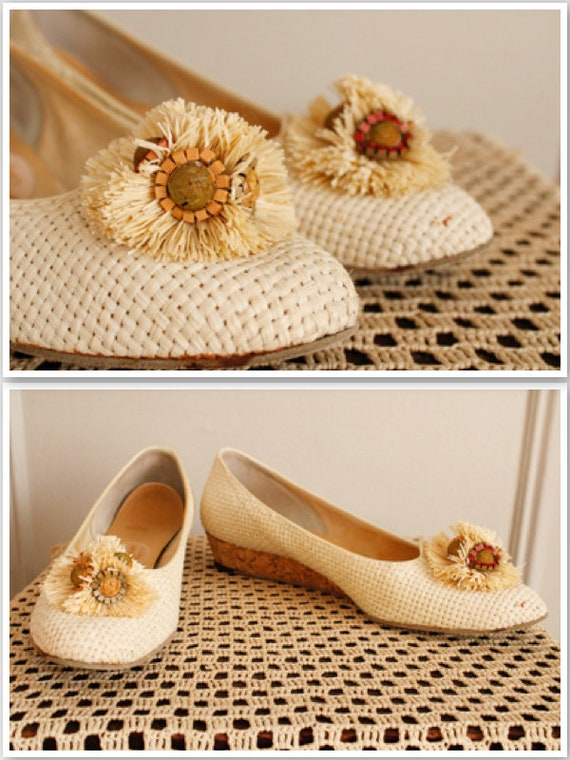 1960s Shoes // Woven Joyce Summer Wedges // vintag