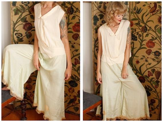 1920s Lounge Pants // Seaglass Green Silk Lounge P