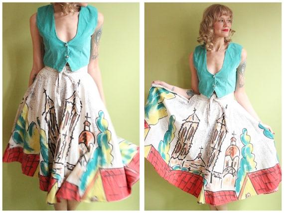 1950s Skirt // Mexican Hand-painted Worship Novelt