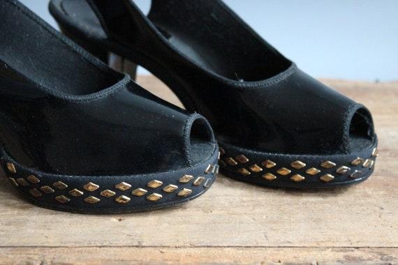 176c76a38b2e8 1940s Platform Heels // Kerrybrooke Studded Platform Heels // vintage 40s  shoes