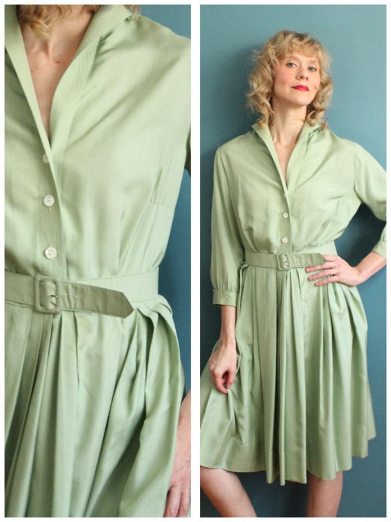 1950s Dress // Celadon Silk Dress // vintage 50s dress image 0