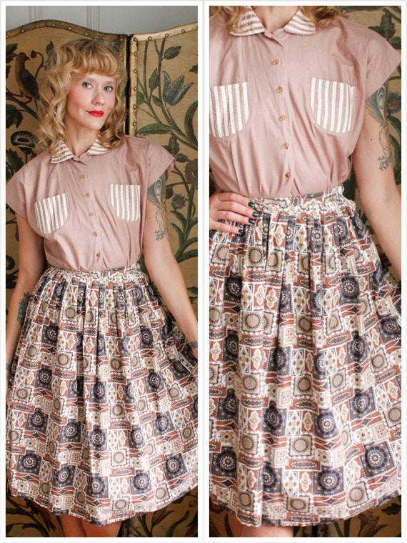 1950s Skirt // Kaleidoscope Cotton Skirt // vintag