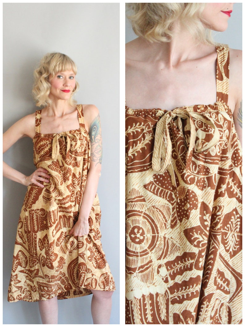 1970s Dress // Batik Plentong Tiki Dress // vintage 70s Summer image 0