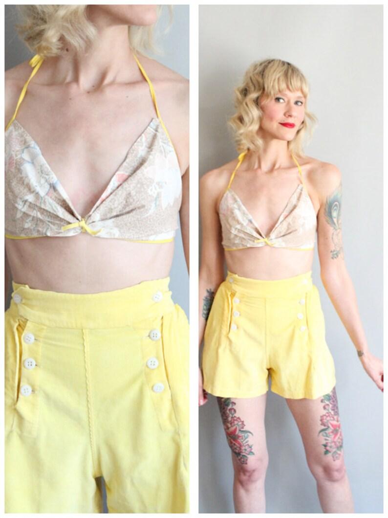 1960s Sun Top // Batik Summer Bikini Top // vintage 60s sun image 0
