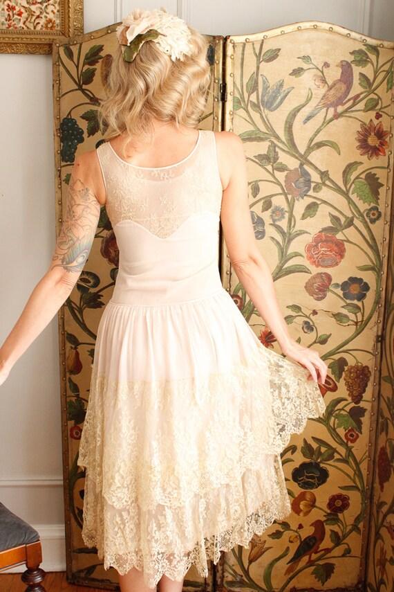 1920s Dress // Chiffon and Lace Wedding Dress // … - image 8
