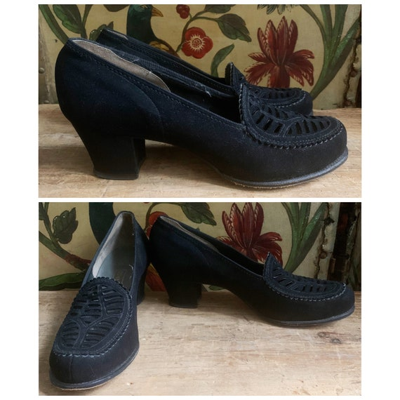 1940s Shoes // Brushed Leather Black Heels // vint