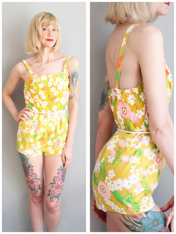 1960s Swimsuit // Flower Power Swimsuit // vintage