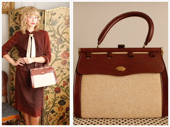 1960s Handbag // Empress Two Tone Handbag // vinta