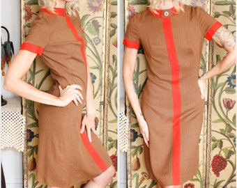 1960s Dress // Lampl Twill Color Block Dress // vintage 60s dress