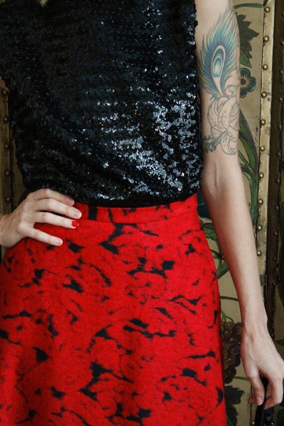 1990s Skirt // Rose Garden Wool Skirt // vintage … - image 3